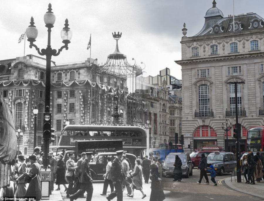 영국박물관 런던거리 백년전후 비교사진 전시 4 인민넷 조문판 人民网